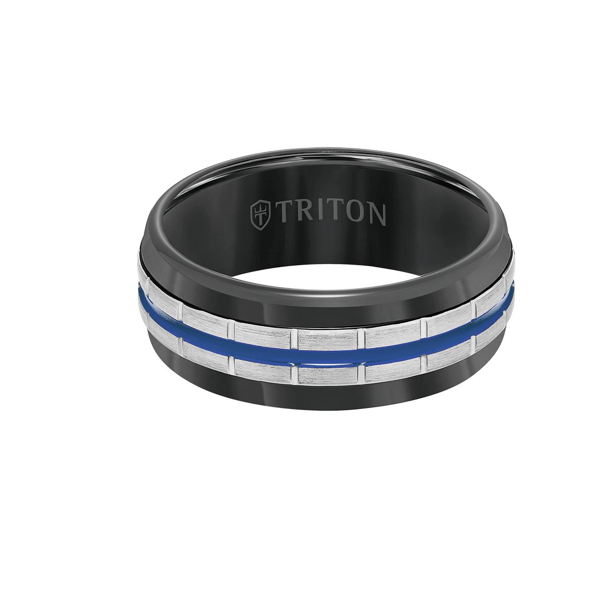 Triton VOLTAGE RING Black Tungsten Carbide Ring for Men with Blue Stripe