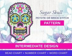 Beaded Sugar Skull Design - Beadweaving Patterns with bead, number & word chart…