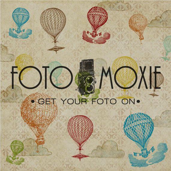 Retro Balloon Matte Vinyl 4'x4' Photography or Floor by fotomoxie, $60.00