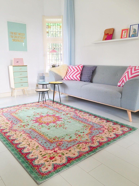 Amazon De Pastell Vintage Teppich Im Angesagten Shabby Chic Look