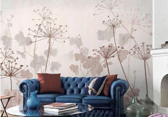 Vintage Lowenzahn Tapete Poetsie Blume Blatt Wand Von Dreamywall Dekor Tapeten Lowenzahn