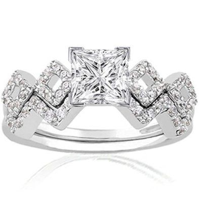 unique princess cut engagement rings unique 1 ct princess cut diamond intertwined engagement wedding ring - Princess Cut Diamond Wedding Ring Sets