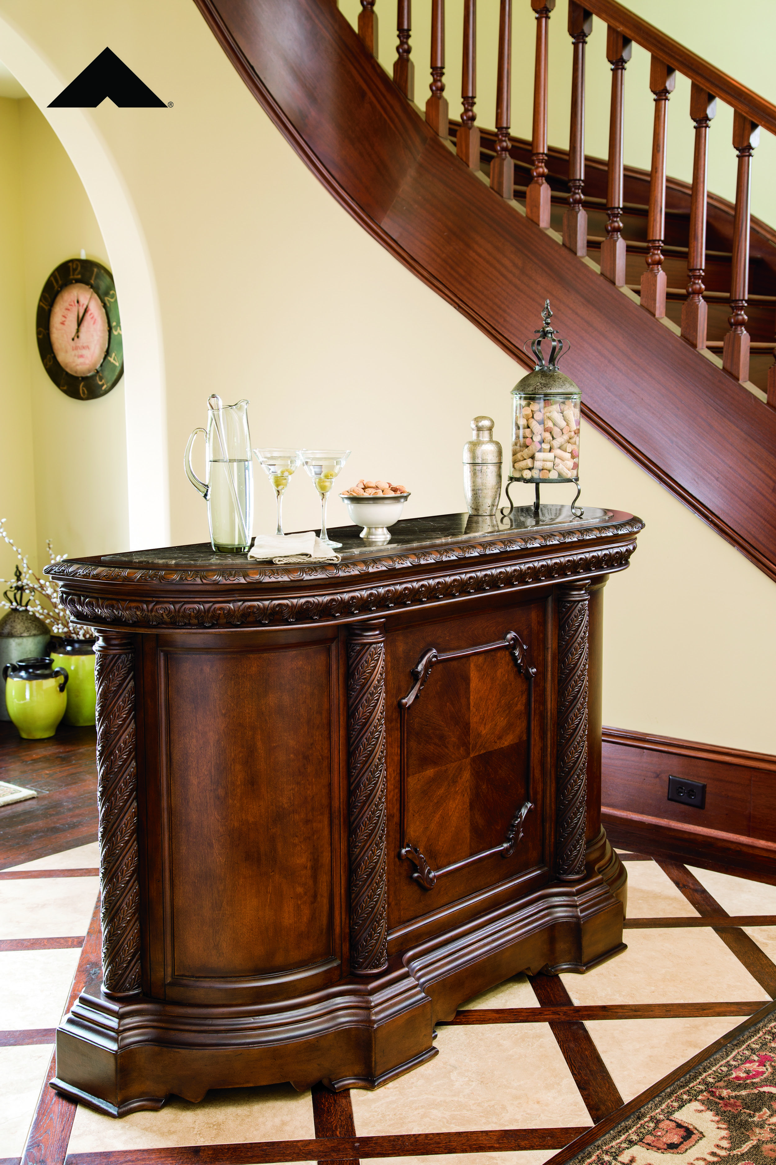 North Shore Old World Inspired Marble Top Bar By Ashley Furniture