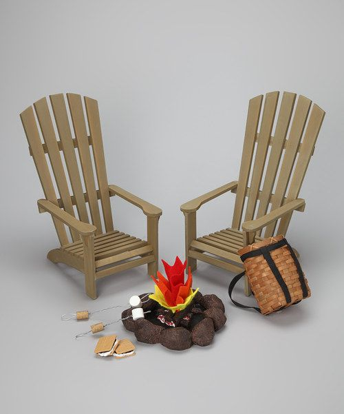 Little ones let their imaginations run wild with the help of this adorable outdoor accessory set. Perfectly sized for any 18-inch doll and featuring Adirondack chairs, fire pit and S'mores equipment, it's a creative collection that's ideal for completing any pretend camping scene. Includes two chairs, fire ring , two s'mores, two marshmallow sticks and backpack