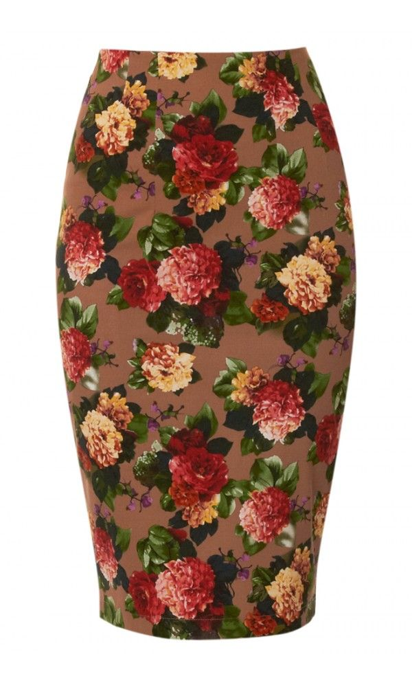 Louche Monet Bloom Print Pencil Skirt