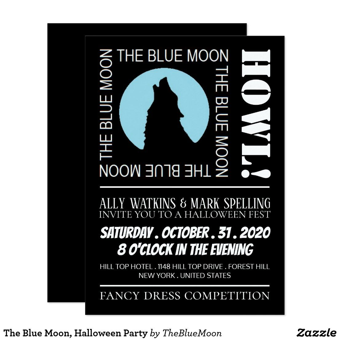 The Blue Moon, Halloween Party Invitation in