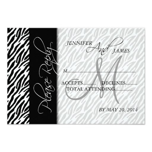 Wedding RSVP Cards Black Zebra Pattern Monogram Personalized Invitation