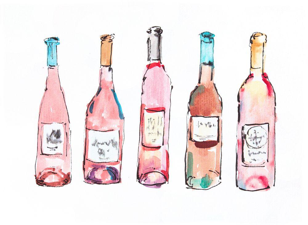 Wine art. Watercolour wine. Pink painting wine. Housewarming gift. For her. Fun art. Home decor wine art design. Wall art wine. Small art
