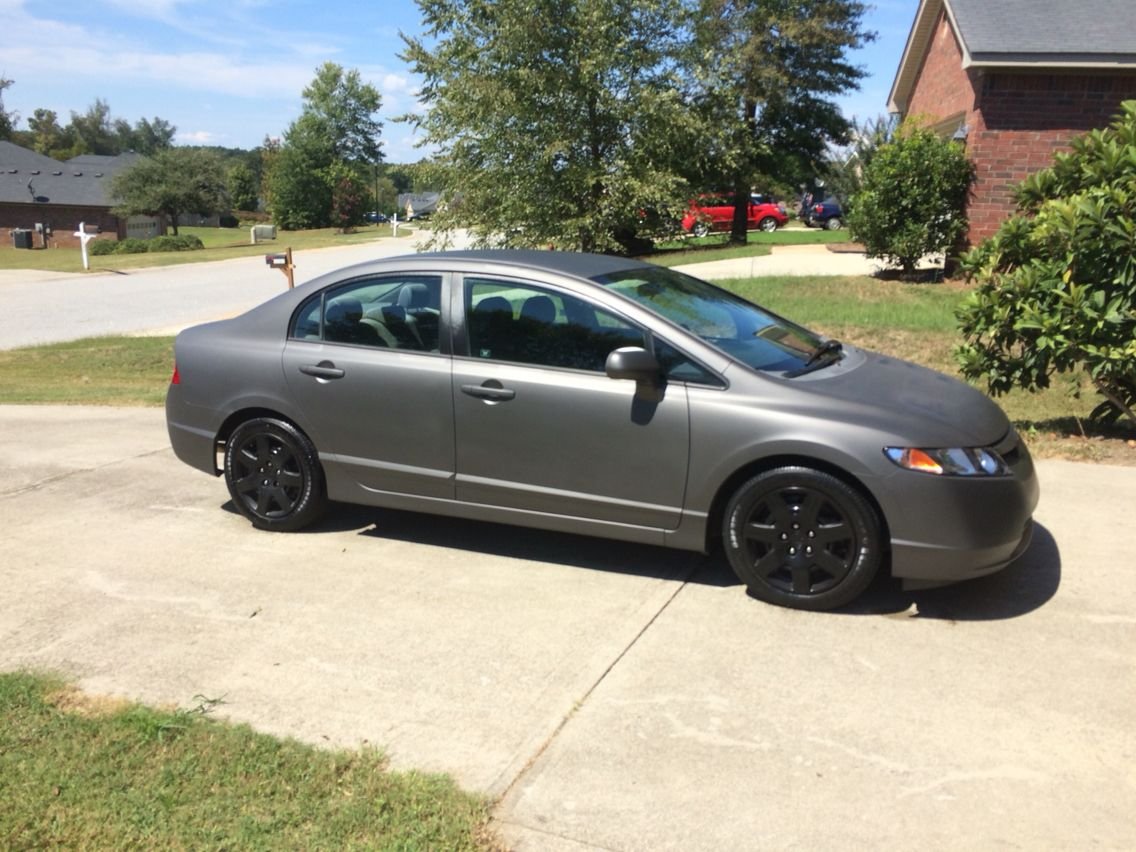 Plasti Dipped 2006 Honda Civic Refinished Steel Wheels 1970 Si Wheel Covers