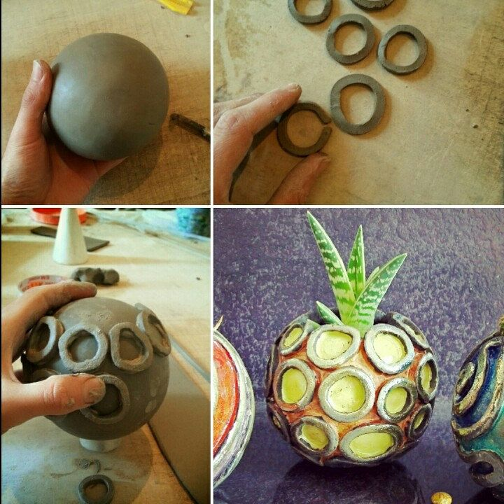 Before And after of my little raku yellow orange planter pot