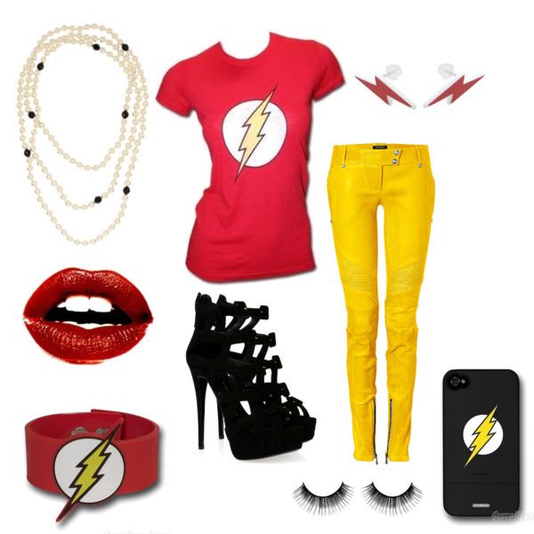 A feminine look based on Flash for the #Cartoon Character #fashion challenge