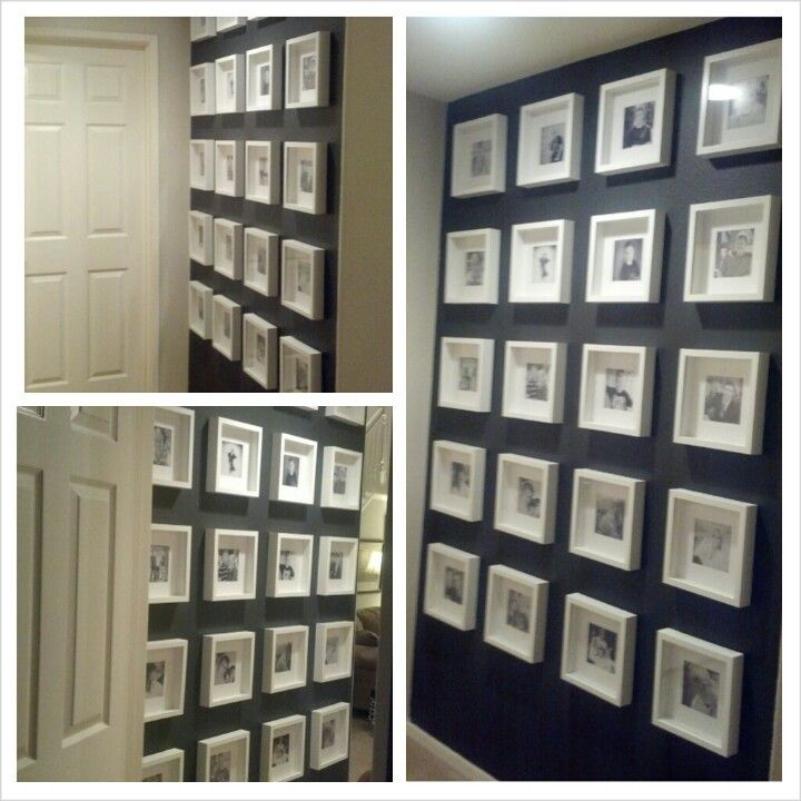ikea white 10 shadow box frames with black and white