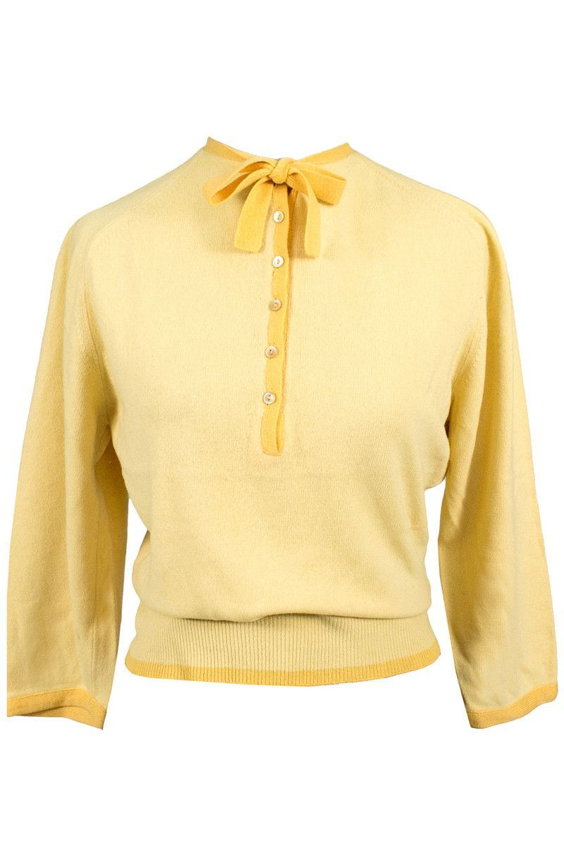 Coleraine 1950's Butter Yellow Cashmere Vintage Sweater | 20 ...