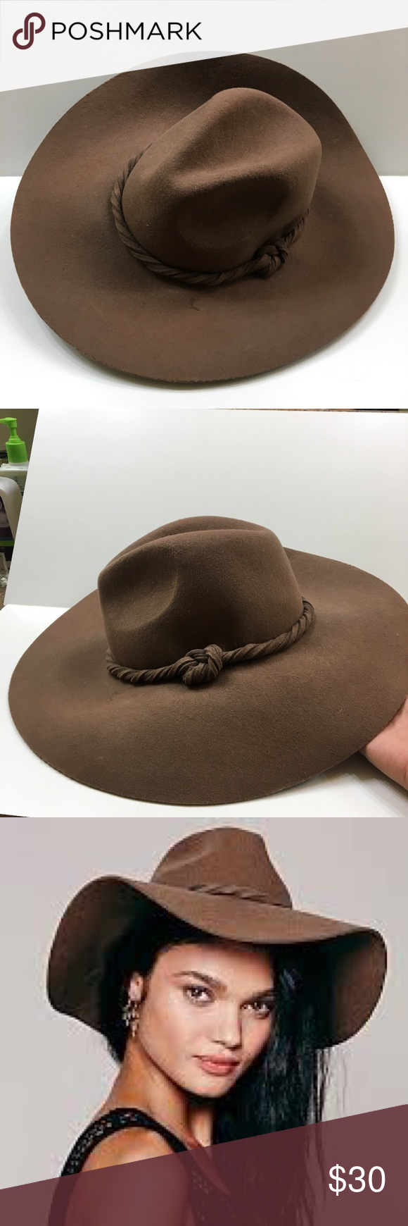 6346c6faf5718c Free People boho fedora hat used Free People Clipperton boho Fedora Hat  With Extended Brim. Dark Brown, Felt, with Twisted Knotted Band. Perfect  Festival ...