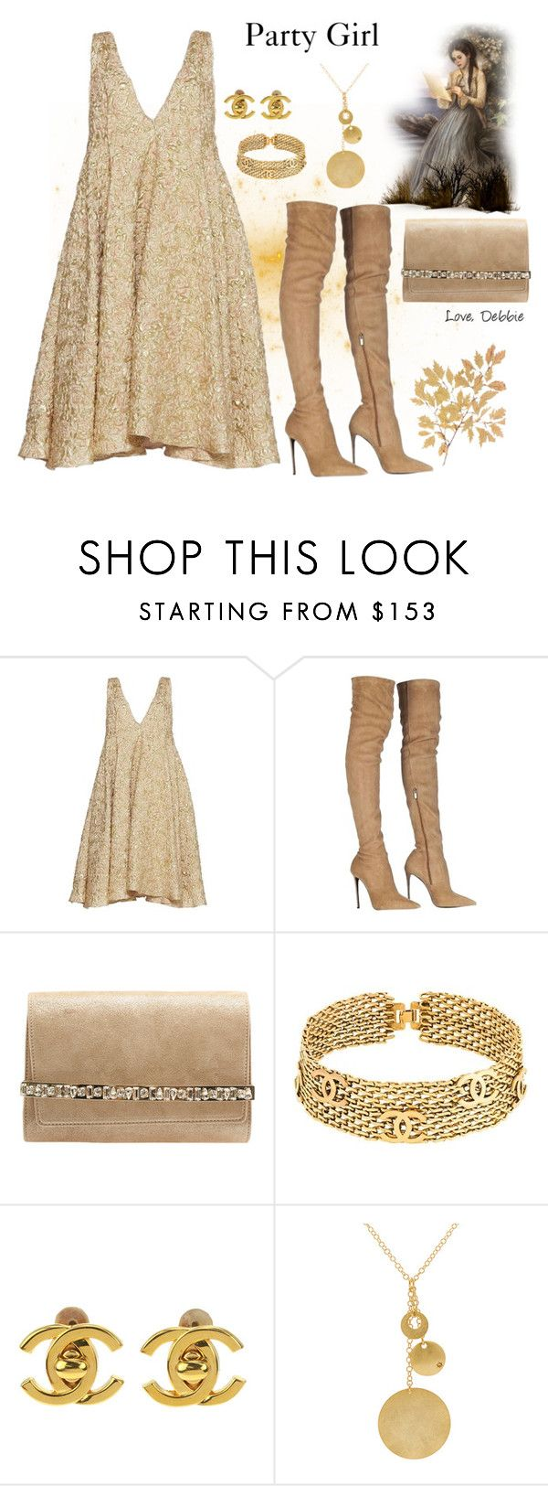 """Party Girl"" by debbie-michailides ❤ liked on Polyvore featuring Sandra Mansour, Roberto Cavalli, Jimmy Choo and Chanel"