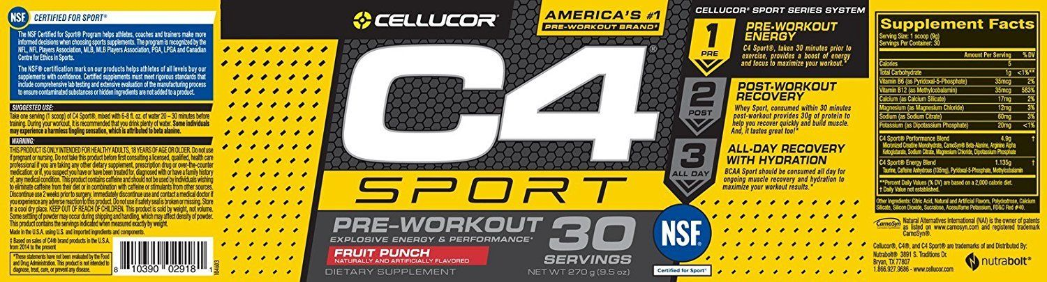 Cellucor C4 Sport Pre Workout Powder Sports Hydration and