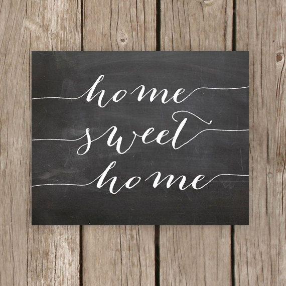 Home Decor Chalkboard: Home Sweet Home, Chalkboard Printable Sign, Home Decor