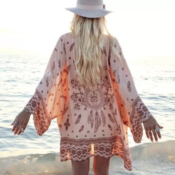 NWOT Vintage/Boho Style Loose Kimono Thin chiffon kimono. Perfect for beach, dinner & beyond...the boho print shows your uniqueness and personality Ealey Other