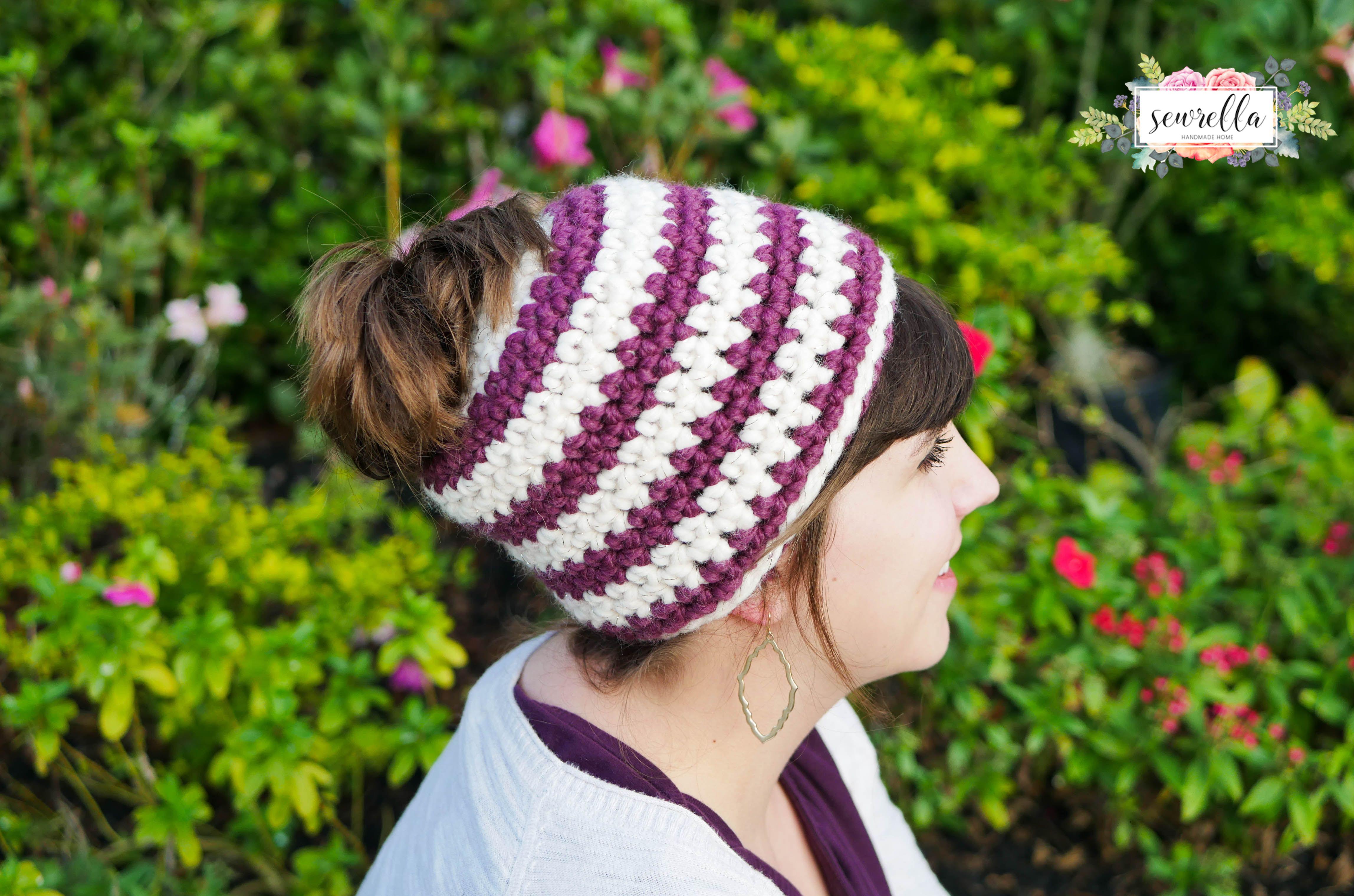 Crochet 1 hour Messy Bun Beanie | Mamá