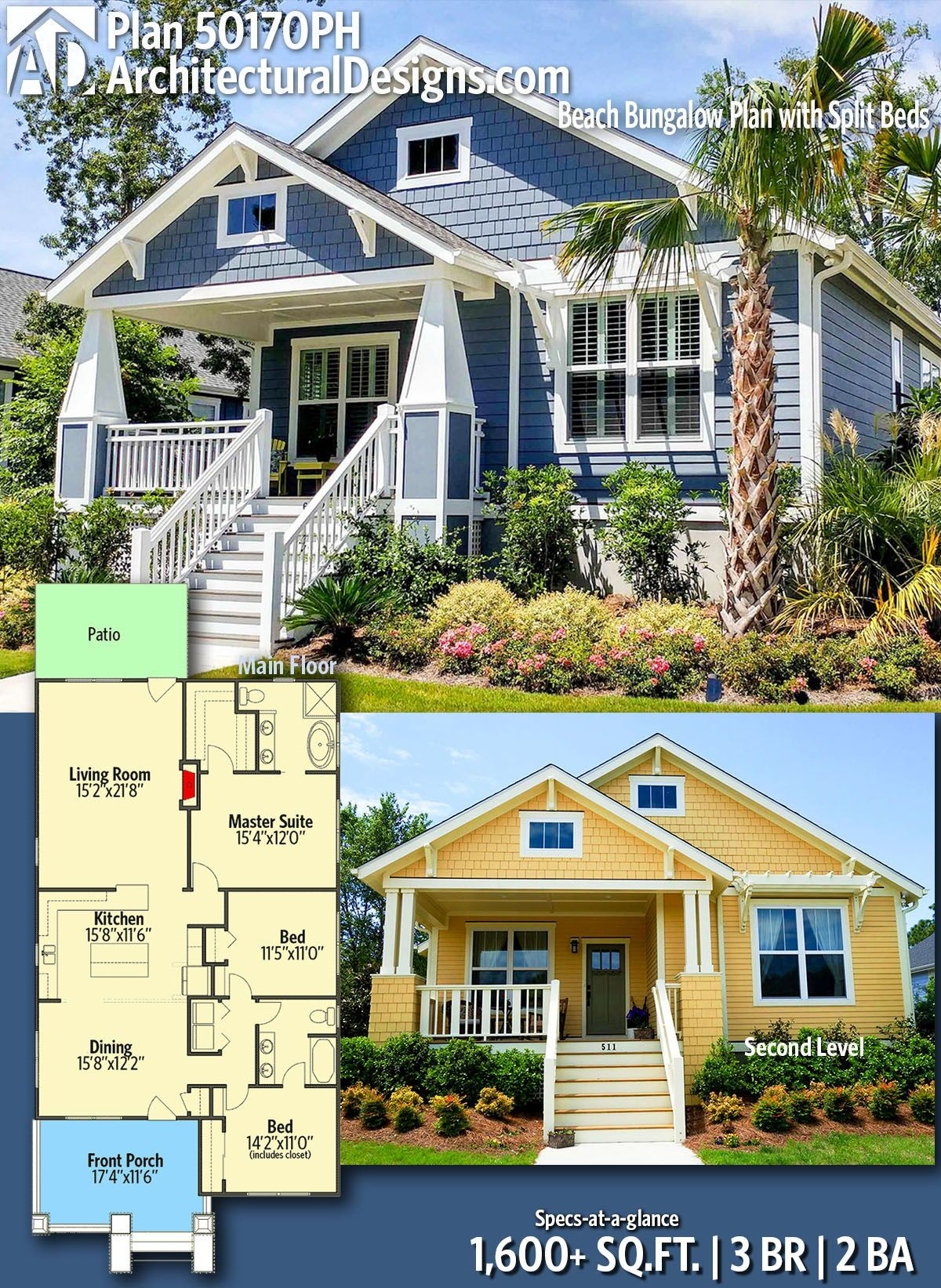 Plan 50170ph Beach Bungalow Plan With Split Beds Beach Bungalows How To Plan Architecture Design