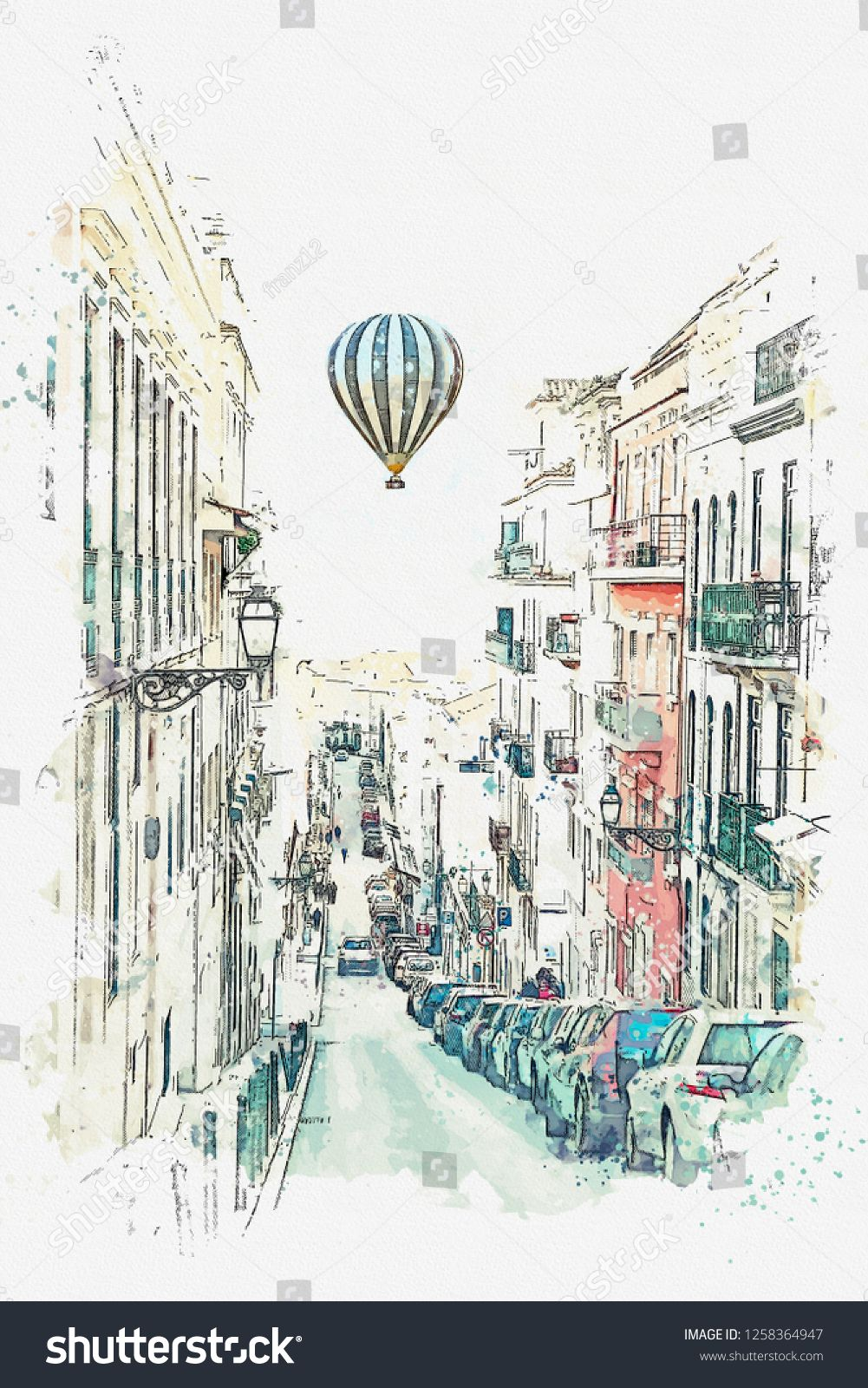 Illustration Traditional Street With Houses And Road In Lisbon In Portugal Hot Air Balloon Flies In The Sky Ad Houses Road Lisbon Illustration Air Balloon