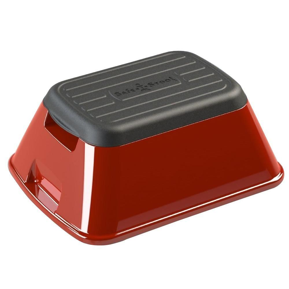 Safe T Stool 7 75 In X 15 5 In X 19 5 In Anti Tip And Carry Basket In Red Plastic Step Stool Metal Step Stool Sink Accessories
