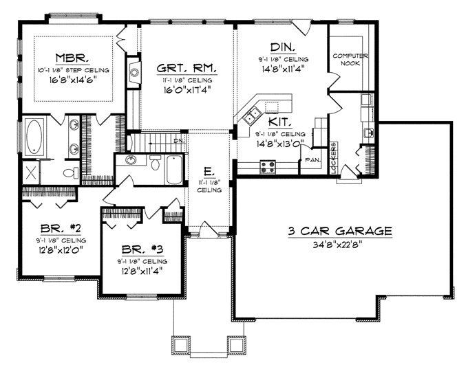 Like This Expect Bedrooms Being At Front Of House Good Thing I Plan On Being In The Country Ranch House Plans Floor Plans Ranch New House Plans
