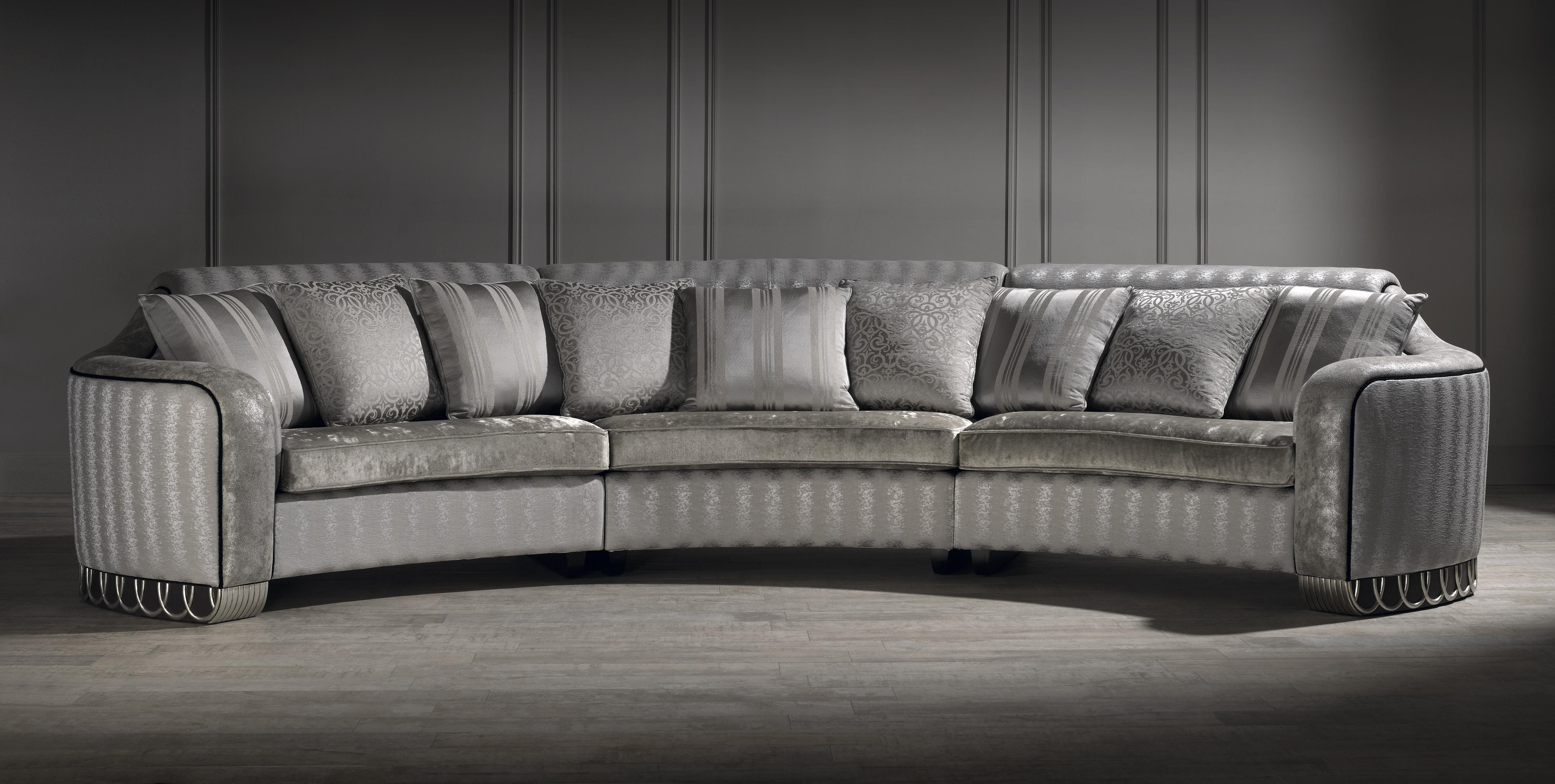 silver curved sofa, luxury curved sofa, unusual sofa