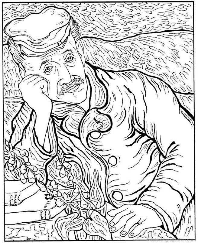 Coloring page vincent van gogh kids n fun
