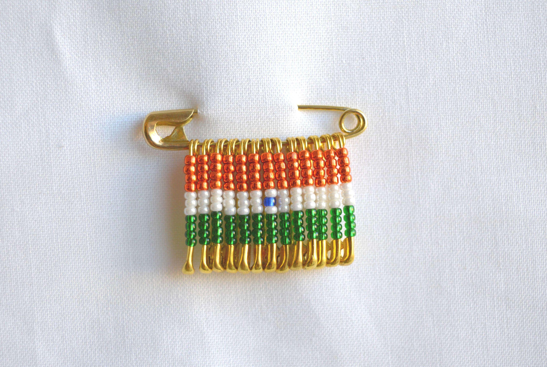 India Flag Pin India Beaded Flag Pin Handmade Pin Safety