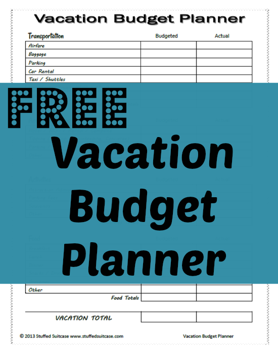 Free Vacation Budget Planner Printable | Pinterest | Free vacations ...