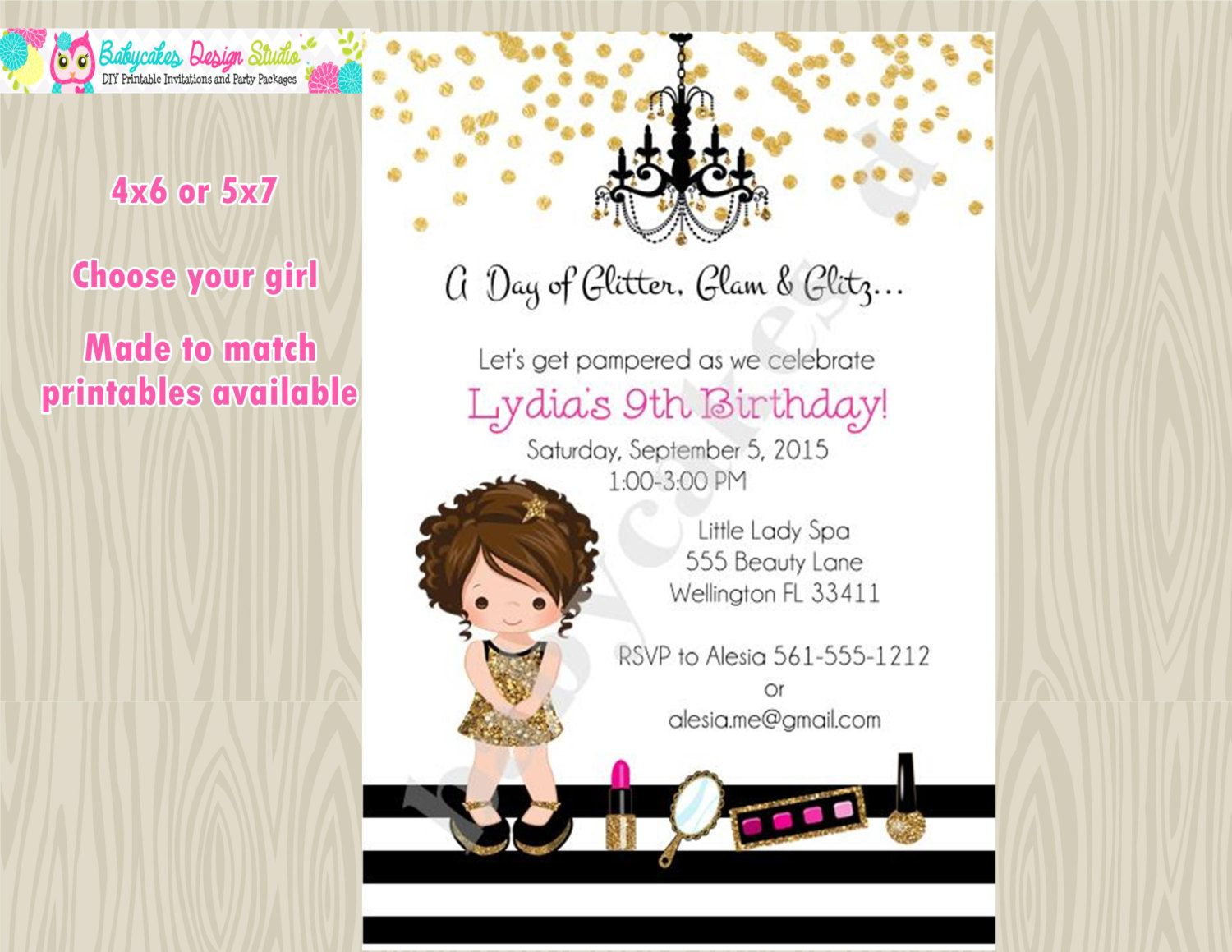 Dress up Party Birthday Invitation invite Glam Party diva party ...