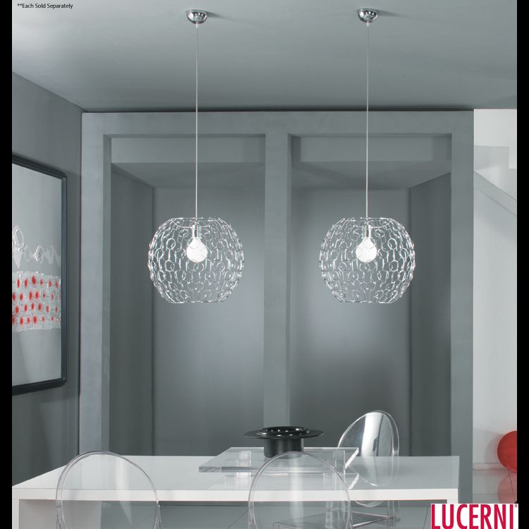 Modern Dining Room Decorations Ideas With Gorgeous Bubble Pendant Lights  And Minimalist Dining Table Featuring Acrylic