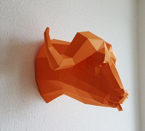 Trofeo de búfalo precortadas los cinco grandes por PaperwolfsShop