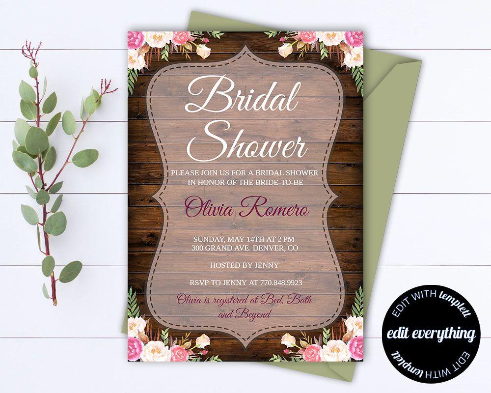 Shabby Chic Bridal Shower Invite  Shabby Chic Bridal Shower