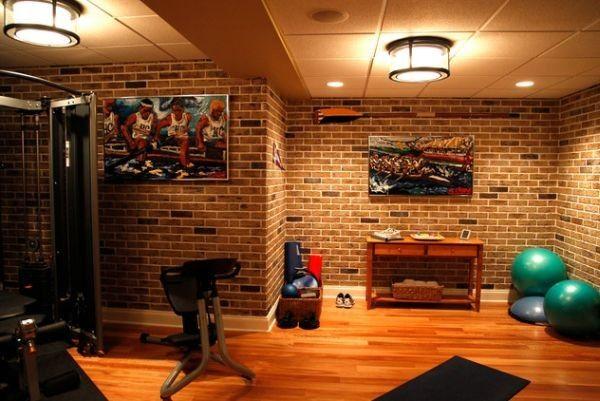 Stylish basement home gym and dance studio home exercise room