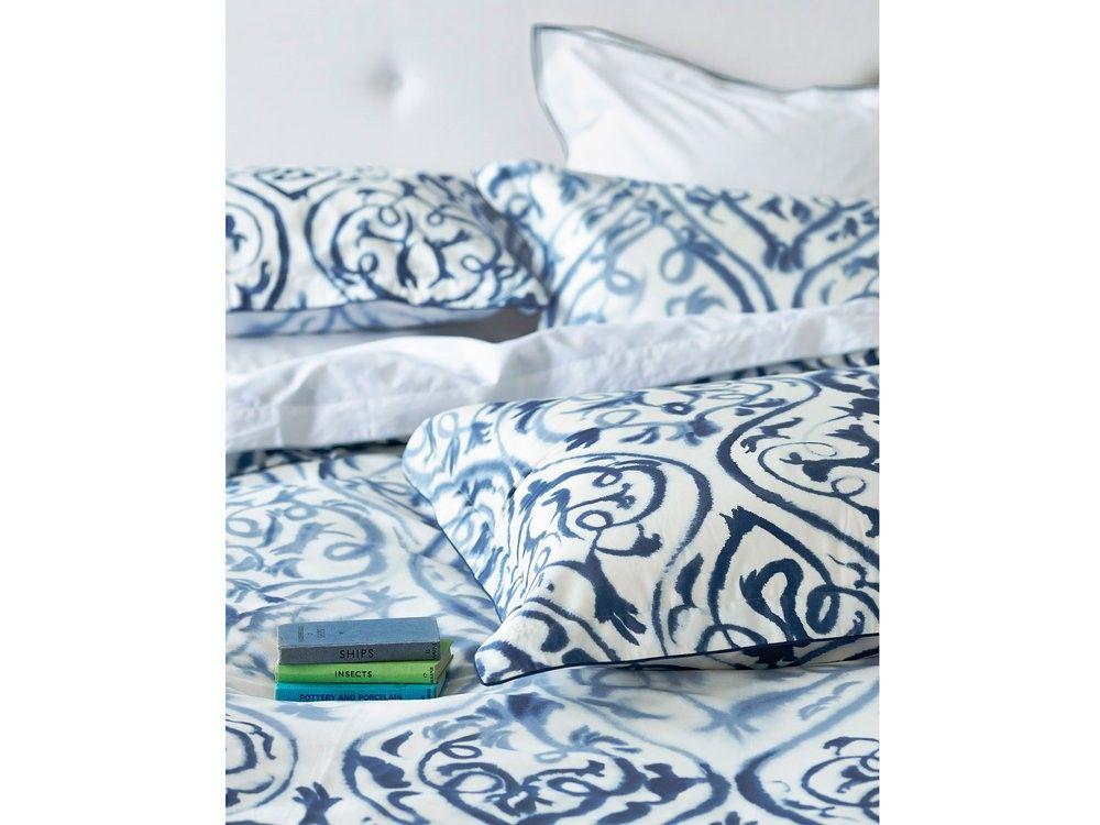 Housse De Couette 260x240cm Satin De Coton Bleu Et Blanc Motif Arabesque Arabesque Indigo 212 Housse De Couette Decor Chambre A Coucher Housses