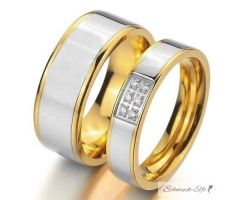 SET Eheringe / Partner Ringe  316 L Edelstahl gold...