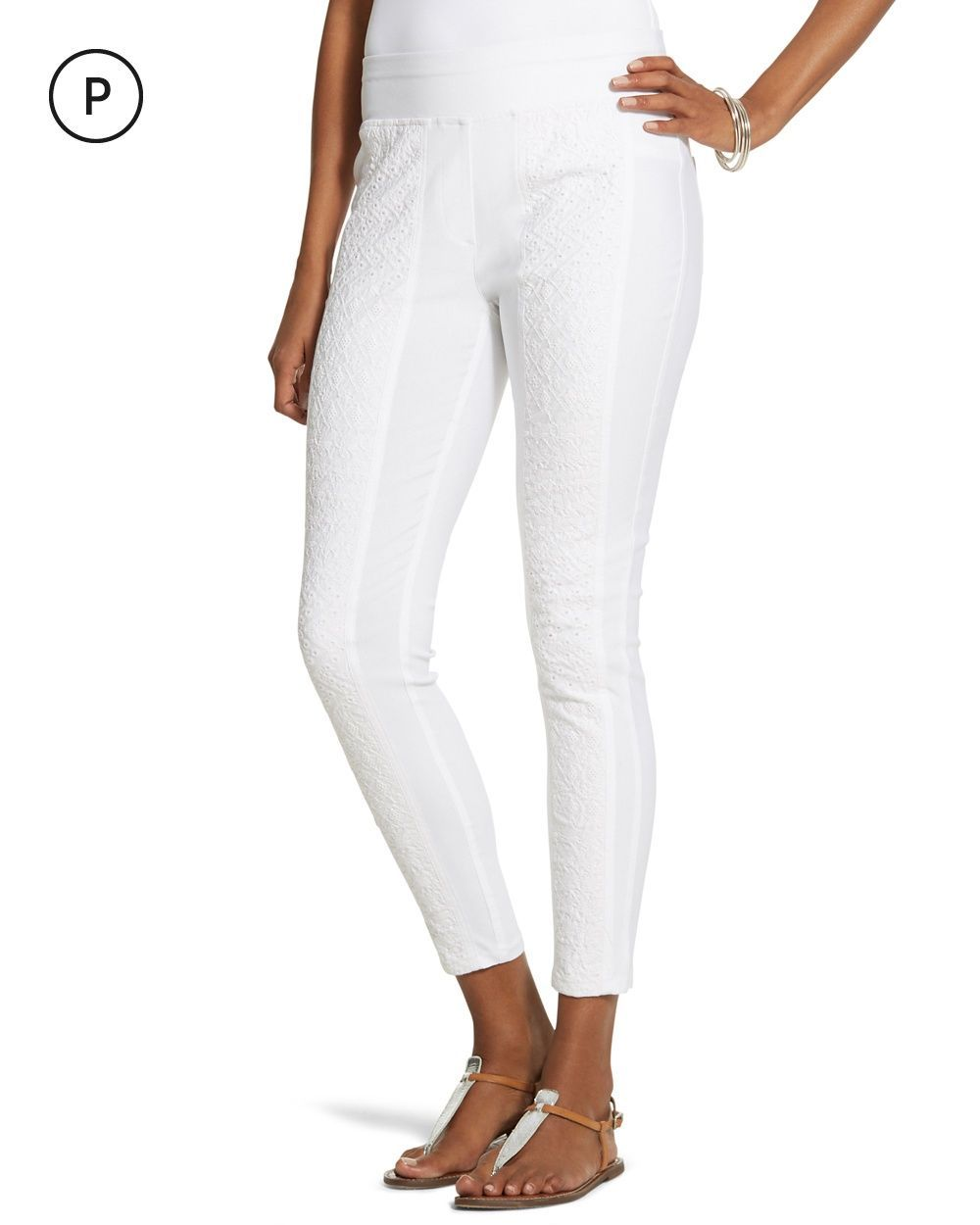 Chico's Women's Petite Embroidered Stretch Slim-Fit Pants