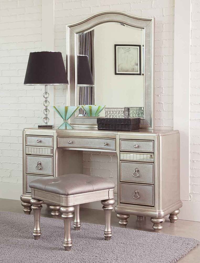 Glitzy Glamorous Platinum Mirrored Vanity Dressing Table Bedroom Furniture Set Unbranded