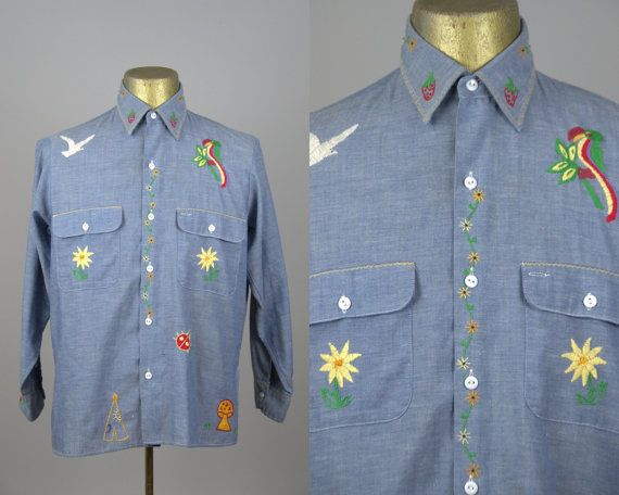 70s Embroidered Chambray Levis Denim Button Down Hippie