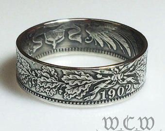 Silver German Coin Ring Choose Your Date (18741916