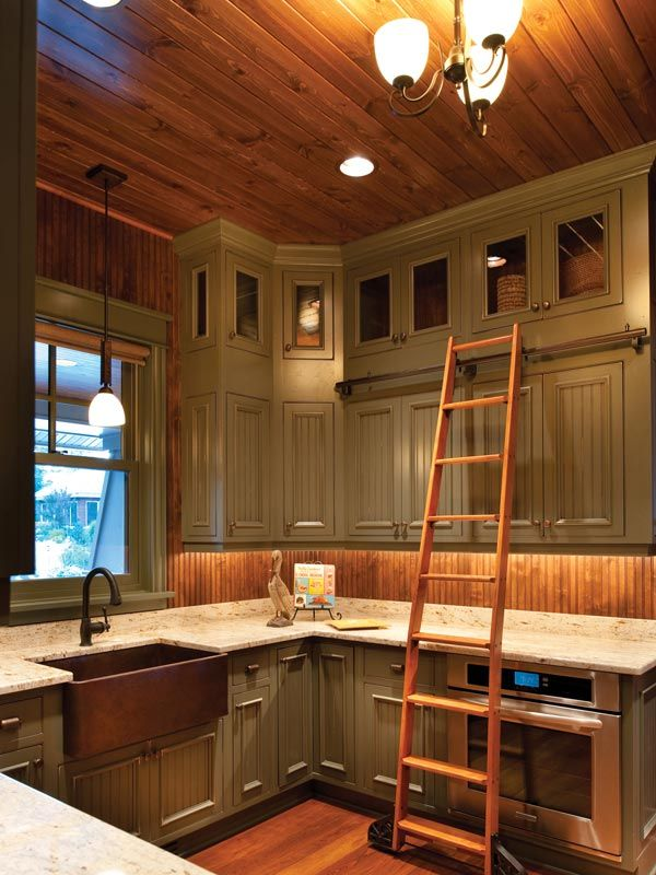 Farmhouse Country Kitchen Painted Farm Style Kitchen With Library Ladder To Reach Those Top
