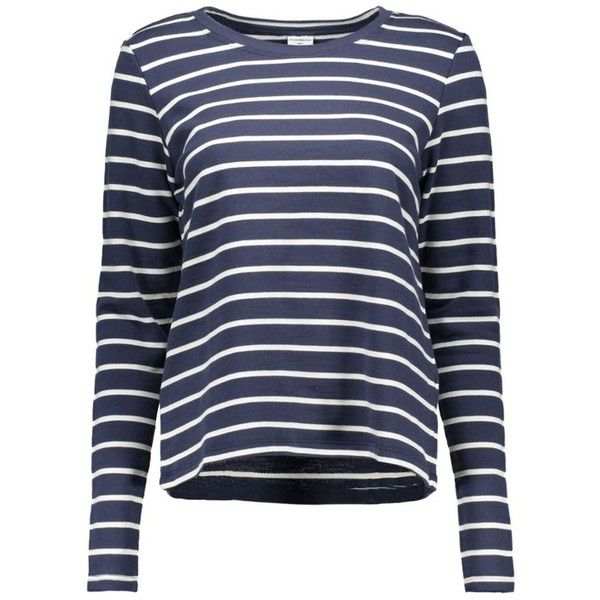 jdysorrento l/s crop stripe sweat 15114958 jacqueline de yong sweaters... ❤ liked on Polyvore featuring tops, hoodies, sweatshirts, indigo sweatshirt, striped crop top, stripe top, striped sweatshirt and cropped tops
