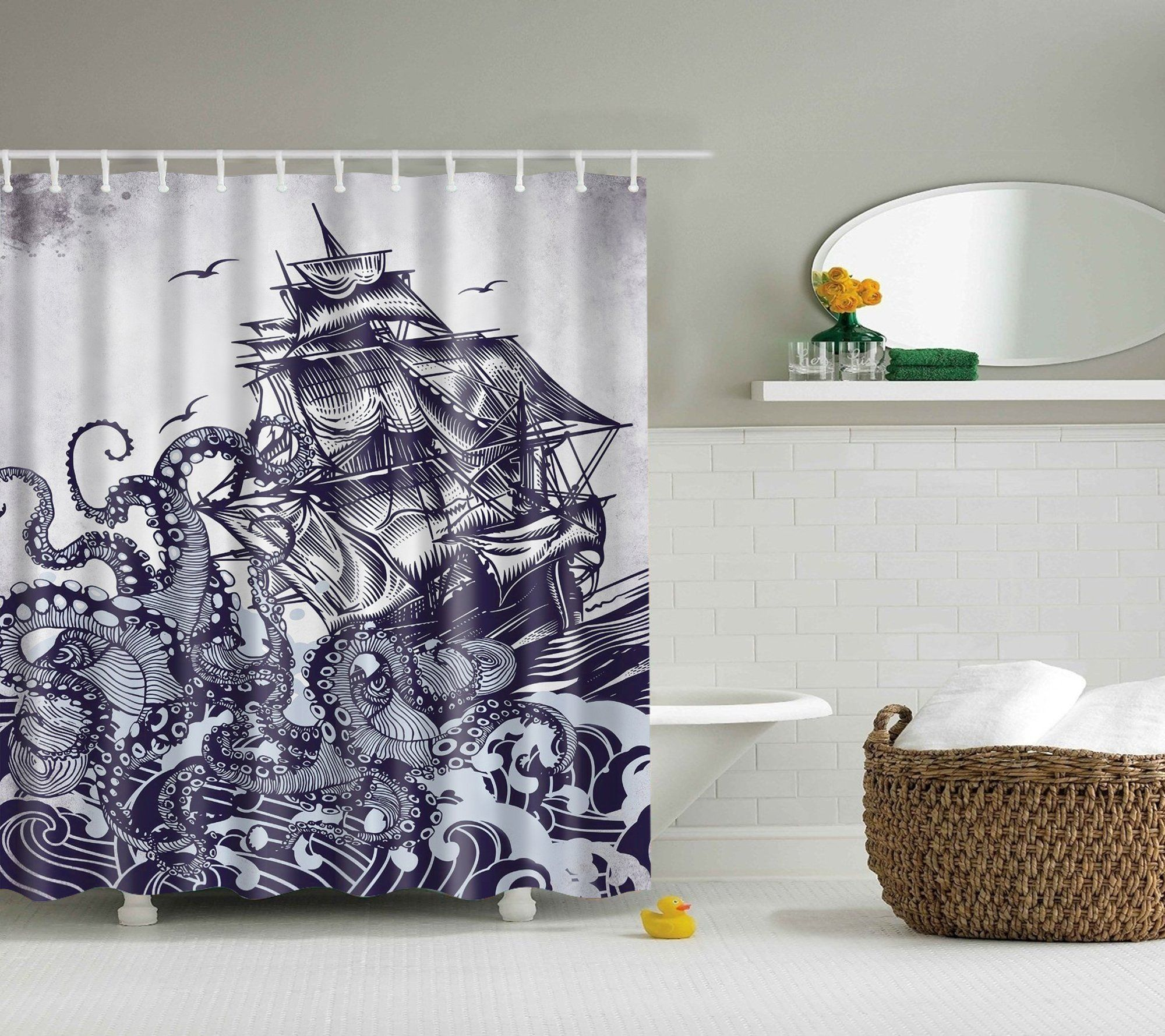 Awesome Kraken with Sailboat Octopus Shower Curtain Bathroom Decor