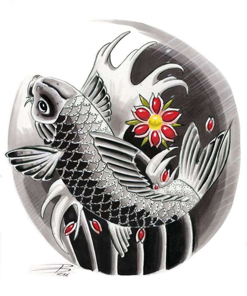 Japanese koi design by davepinsker on deviantart tattoo for Japanese koi design