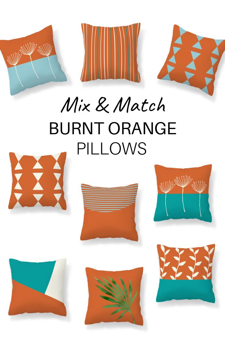 Burnt Orange Teal Blue Throw Pillow Cover Modern Mix And Etsy Burnt Orange Pillows Blue Throw Pillows Orange Pillows Orange and blue outdoor pillows