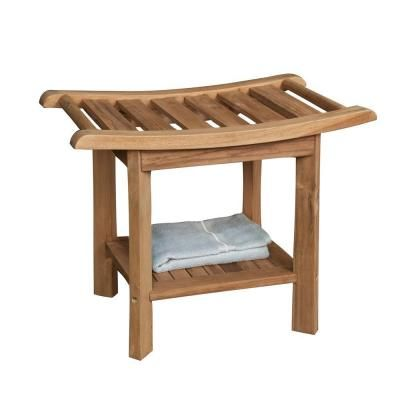 24 In Teak Curved Slatted Shower Seat Iss153 The Home Depot Shower Seat Teak Shower Bench Teak