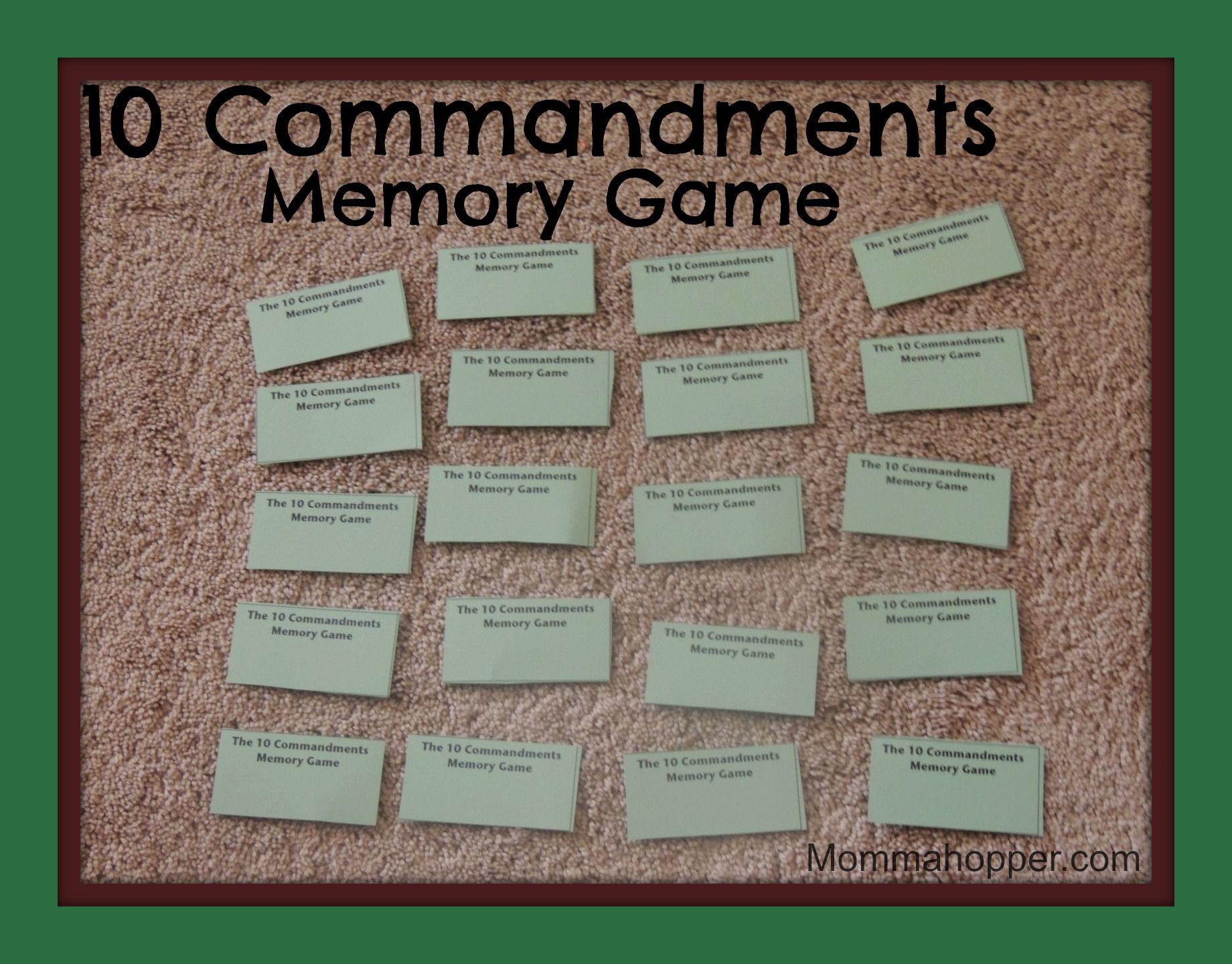 10 Commandments Memory Game