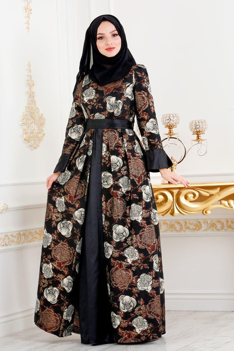 635a9ffa451a4 Tesettürlü Abiye Elbise - Desenli Jakarlı Kahverengi Tesettür Abiye Elbise  24682KH ÜRÜN KODU : 24682KH